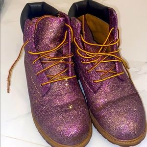 Custom Purple Glitter & Gold Timbaland Boots